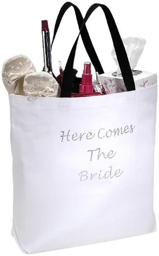 Darice VL1419, Here Comes The Bride Tote, 18-Inch by 16-Inch by 4-Inch, -