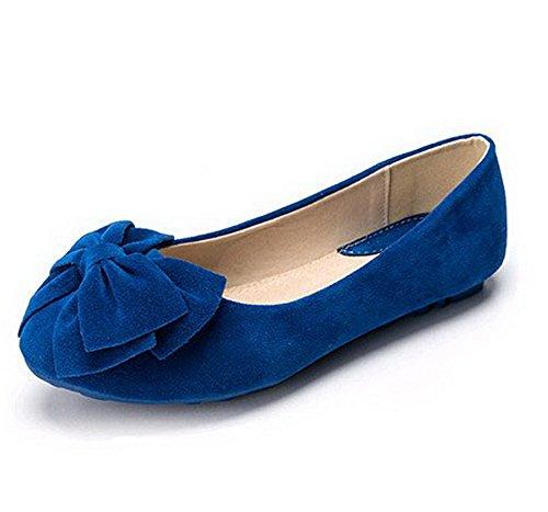 AalarDom Mujer Sin cordones Puntera Redonda Esmerilado Sólido Plano con Lazos Azul-Esmerilado