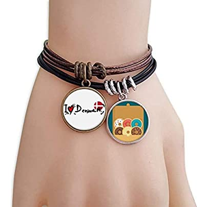 SeeParts Love Denmark Word Flag Love Heart Illustration Bracelet Rope Doughnut Wristband Estimated Price £9.99 -