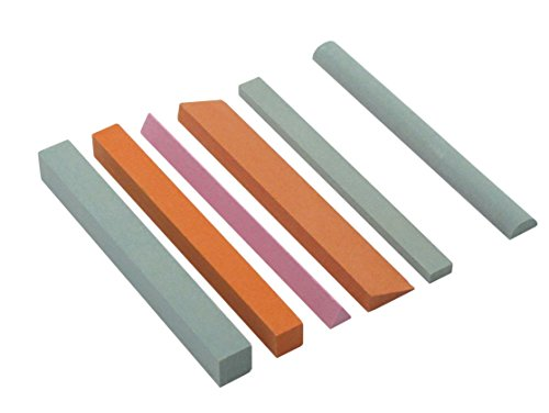 se-ss129-7-piece-sharpening-stone-set-variety-of-shapes-grits-150-180-6-inches-long-green-pink-and-b