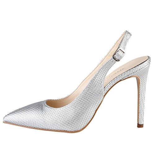 Made in Italia Damen Adria Slingback, Silber, 41 EU