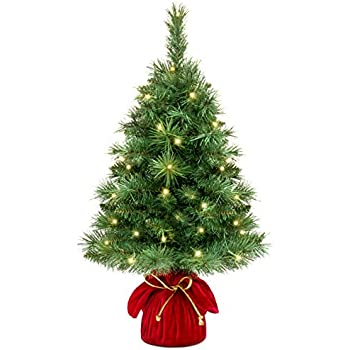best choice products 26in pre lit tabletop fir artifical christmas tree decor w 35 warm white led lights timer green