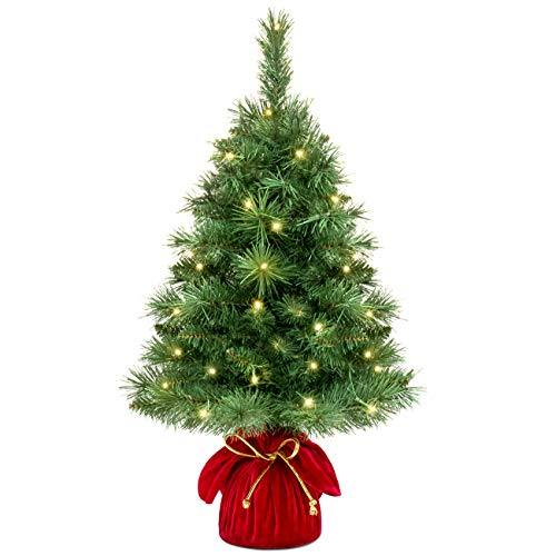 Best Choice Products 26in Pre-Lit Tabletop Fir Artifical Christmas Tree Decor w/ 35 Warm White LED Lights, Timer - Green