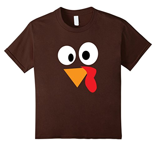 Kids Happy Thanksgiving Funny Turkey Face T-Shirt 4 Brown (Turkey Size For 4 Adults)