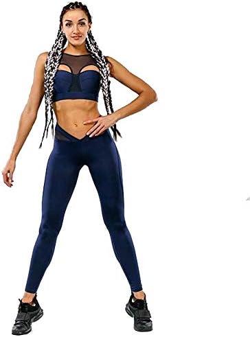 レディースジャージ上下セット ステッチヨガ運動服スポーツスーツ女性 (色 : 青, サイズ : M)
