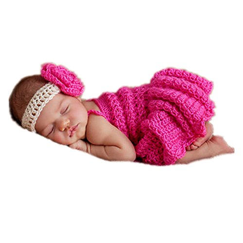 Newborn Infant Baby girl Photo Shoot Props Outfits Lovely Flower Headband Dress Crochet Knitted Costume Photography (Basket Of Flowers Costume)