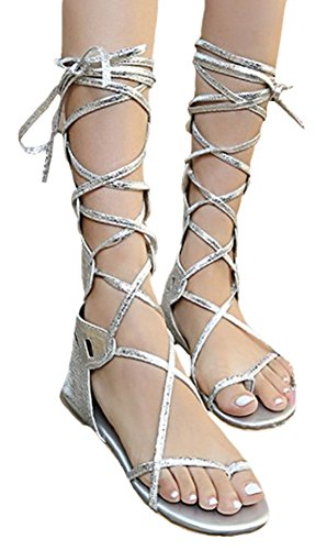 Women Sandals Shoes Knee Gladiator Silver IDIFU zCxZqBx