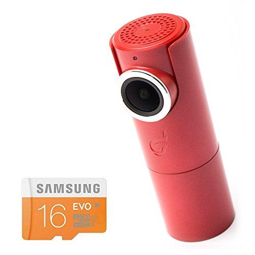 GOLUK T3 in FIRE RED compact car dashcam WiFi Full HD 1080P G-sensor Night vision 16Gb SD card Included (Red Digital Cam)