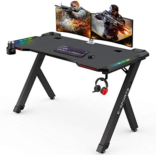 "Gaming Desk PC Computer Corner Desk Black 47.5"" Home Office Study Writing Table Gamer Workstation Strip LED Light Storage Shelf with Cup Holder and Headphone Hook, Space Saving, Easy to Assemble"