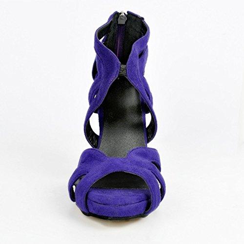 Sandalias para de Morado de Vestir Mujer Cuero garlos 8qdZwXc58