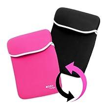 DURAGADGET Pink & Black Reversible Shock Absorbent Neoprene Laptop Sleeve For HP Envy 17 3D, HP Pavilion dv7-6c54ea, Schenker XMG-P502/XMG-P702 & G7-2220us 17.3-Inch & G7-2270us
