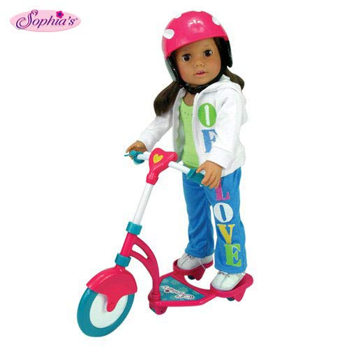 Sophia's Doll Scooter & Helmet Set Made, 18 Inch Dolls Accessories fit for American Girl Dolls, 2 Pc. Doll Helmet & Scooter Set, 18 Inch Doll Furniture (Doll Scooter)