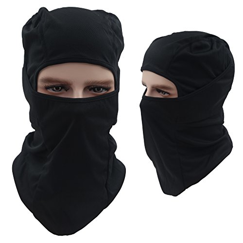 Tactical Balaclava Hood, Skiing Face Mask, Breathable / Lightweight / Cold Weather / Multi Purpose / Black Winter Motorcycle Bike Bicycle Helmet Cycling Mask for Kids Women Ladies Men by - Very Face Thin