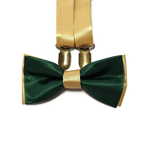Emerald Green Adjustable Suspender and Bow Tie Set Kids and Adults Sizes