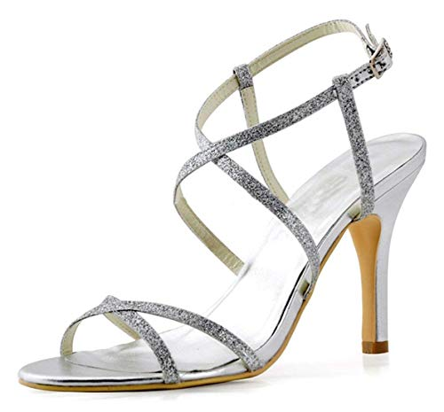 Ladies Slingback Glitter Ankle Wedding Formal Silver Tamaño Sandals Uk color 3 Party Qiusa Wrap gwTCdTq