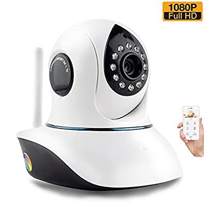 1080P Wireless WiFi Security Camera System HD Pan Tilt IP Network Surveillance Webcam,Baby Monitor,Remote View Two-Way Talk Dog Cam,Night Vision(Max Support 128GB SD Slot)