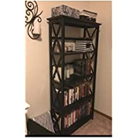 5-Tier Espresso Wood Bookshelf Bookcase Media Cabinet Storage 5-Shelf Unit Rustic Farmhouse & OISTRIA eBook