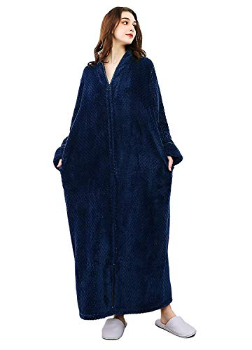 Womens Fleece Robe Plush Long Zip-Front Bathrobe with Pockets (Large, Navy Blue) ()