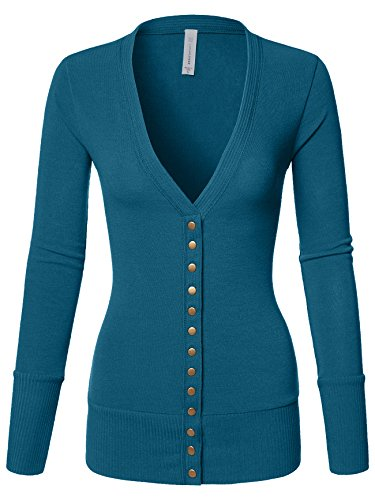 Cardigan Long Cotton - Luna Flower Women's V-Neck Snap Button Long Sleeve Soft Basic Knit Snap Cardigan Sweater Teal Small (GCDW027)
