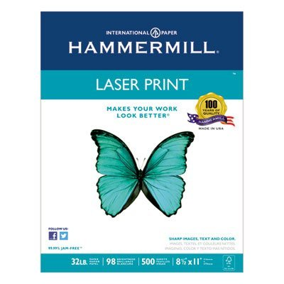 Laser Print Office Paper, 98 Brightness, 32lb, 8-1/2 x 11, White, 500 Sheets/RM, Sold as 1 Ream, 500 per Ream by Hammermill
