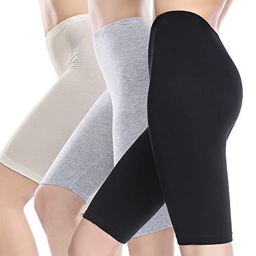 - MANCYFIT Slip Shorts for Women Short Leggings Mid Thigh Legging Plus Size Undershorts Flat 3 Pack Black/Gray/Beige Small