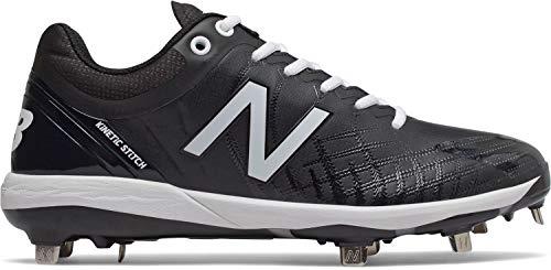 New Balance Men's 4040v5 Metal Baseball Shoe, Black/White, 9 XW US
