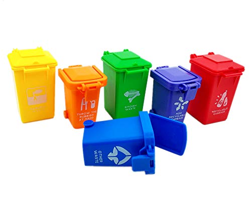 Nuanmu Trash Can Toy Kids Push Toy Vehicles Garbage Can 2 Style of 6 Colors