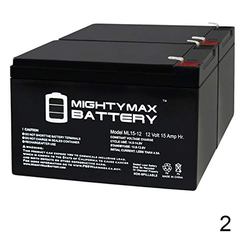 Mighty Max Battery 12V 15AH F2 SLA Battery for Wagan 2544 500 amp Jump Starter - 2 Pack Brand Product