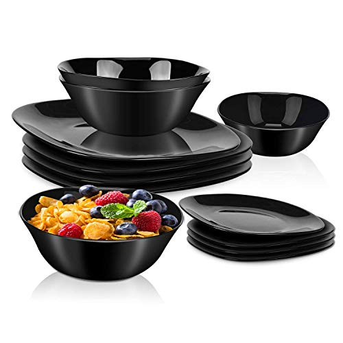 DANMERS 12-Piece Dinnerware Set Black Kitchen Dinner Set Service for 4, Square Glass Plates Bowls Set Crack Resistant