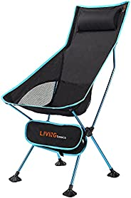 Portable Camping Chair with Headrest, High Back - LIVINGbasics