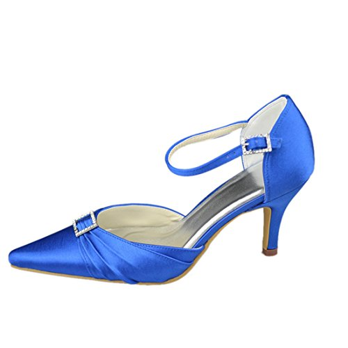 Wedding Bridal Party High Minitoo Strappy Heel 7cm GYAYL300 Evening Blue Satin Shoes Ruched Heel Womens 081qawqRf