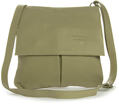 Big Handbag Shop - Bolso al hombro de cuero para hombre One marrón claro