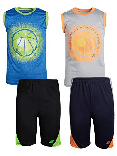 Pro Athlete Boys 4-Piece Performance Sublimation Tank Top and Short Set (Grey/Blue Basketball, 4)'