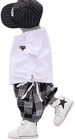 Boys' Two Piece Short serts Printed Thin Cotton Short Sleeve Thin Plaid Style Shorts White