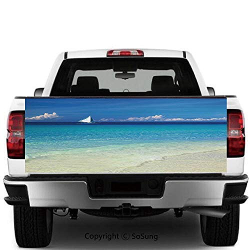 Sailboat Nautical Decor Vinyl Wall Stickers,Exotic Tropic Beach in Philippines Island Horizon Summer Paradise Concept Cars Trucks Decorative Decal Sticker,60x20 Inches,Turquoise Cream (Best Ukulele Brand In The Philippines)