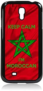 "Morrocan Flag - ""Keep Calm I'm Morrocan,"" Case for the Galaxy S4 i9500 -Hard Black Plastic Case"