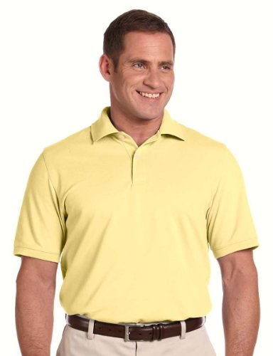 Men's Ashworth Classic Solid Pique Polo, Light Yellow, 4XL