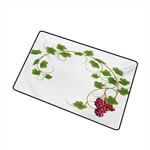duommhome Bedroom Doormat Vineyard Curved Ivy Branch Deciduous Woody Wines Seeds Clusters Cabernet Theme Print W30 xL39 Non-Toxic Carpet