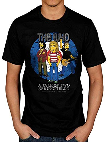 Rocks Homer (Men's The Simpsons The Who The Tale of Two Springfields T-Shirt Bulls Eye Homer Rock Band Size L Black)