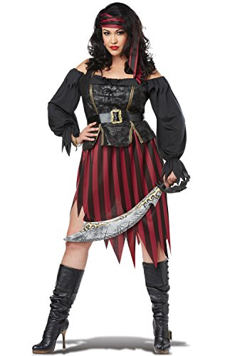 California Costumes Women's Size Queen of The High Seas Adult Woman Plus Costume, Black/Burgundy, 1X Large