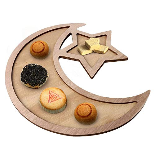 Wooden Crescent Moon Star Eid Ramadan Party Food Serving Tableware Dessert Dinner Plate Home Tray ()