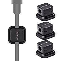 Magnetic Cable clip, SINJIMORU Cable holder with Magnet, Multi purpose Cable Organizer for iPhone Lightning Cable and Micro USB Cable for Cable Management. Magnetic Cable Holder, Black 3 Pack.
