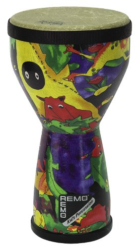 REMO Drum, KIDS PERCUSSION, Doumbek, 6'' Diameter, 10'' Height, Fabric Rain Forest by Remo