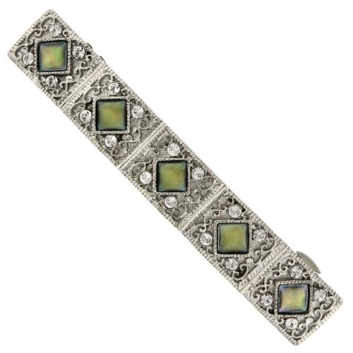 1928 Company Sweet Pearly Green Crystal Diamond Hair (Genuine Crystal Barrette)