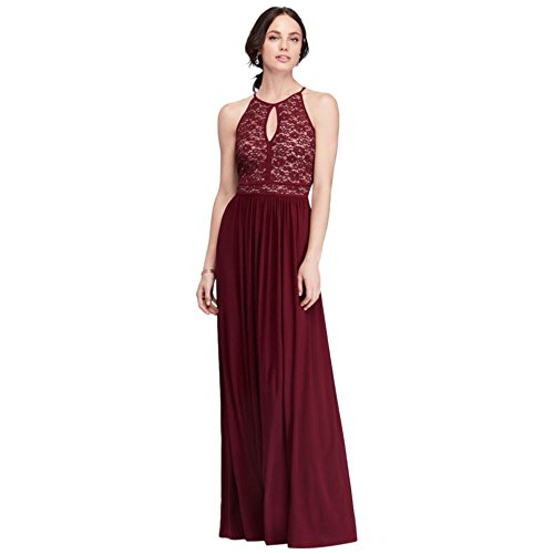 Lace Keyhole Tie Back Halter Dress Style 12089, Wine, 16