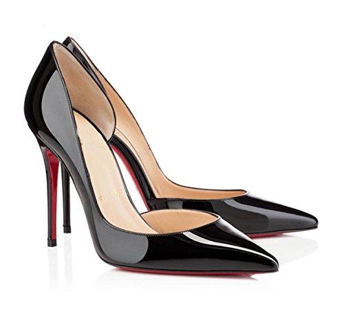 WSS chaussures à talon haut Fine en cuir pointu chaussures à talons creux et confortables chaussures occasionnelles lumière . black . 41
