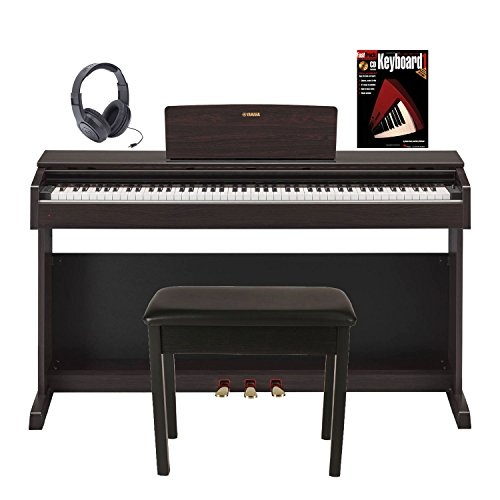 Yamaha Arius YDP143R 88 Keys Graded Hammer Standard (GHS) Digital Console Pianos with Bench in Rosewood with Piano Book and Samson Stereo Headphones