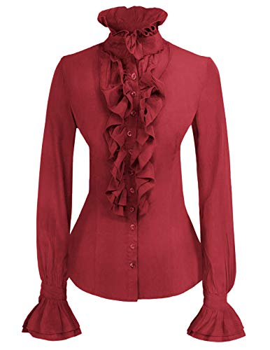 Women Retro Lotus Ruffle Victoria Shirts Steampunk Gothic Blouse Wine M