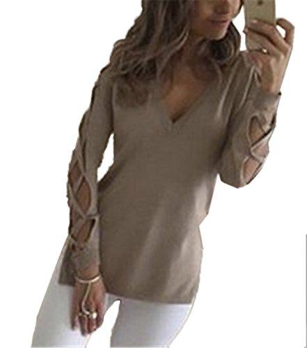 Top Breve shirt Moda Collo Camicie Bende V Con Lunghezza Laterale Blouse T Lunga Sexy Donna Maglie Maglietta Unita Manica Blusa Tinta Incrociata Spacco Cachi A qtRggO1