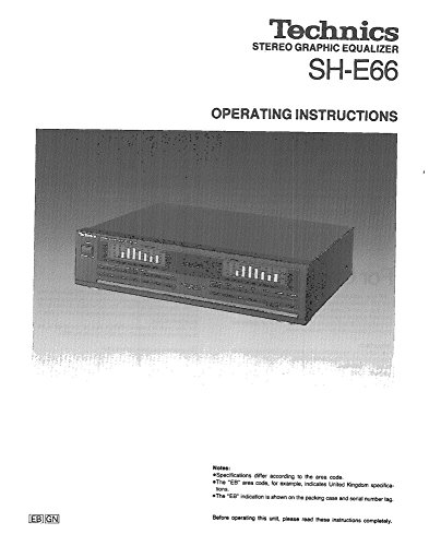 Cheap Technics SH-E66 Equalizer Owners Instruction Manual Reprint [Plastic Comb] Every Instruction Manual technic equalizers